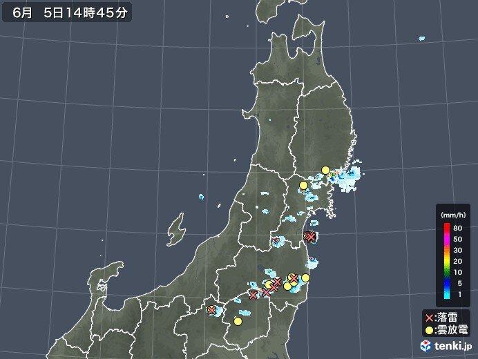 関東・東北地方 雨雲発達中