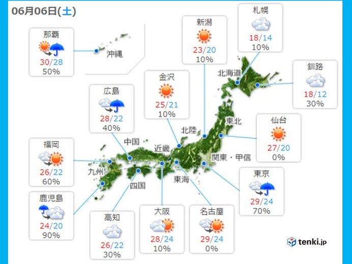 きょうの天気 九州北部から関東甲信や北海道でも不安定