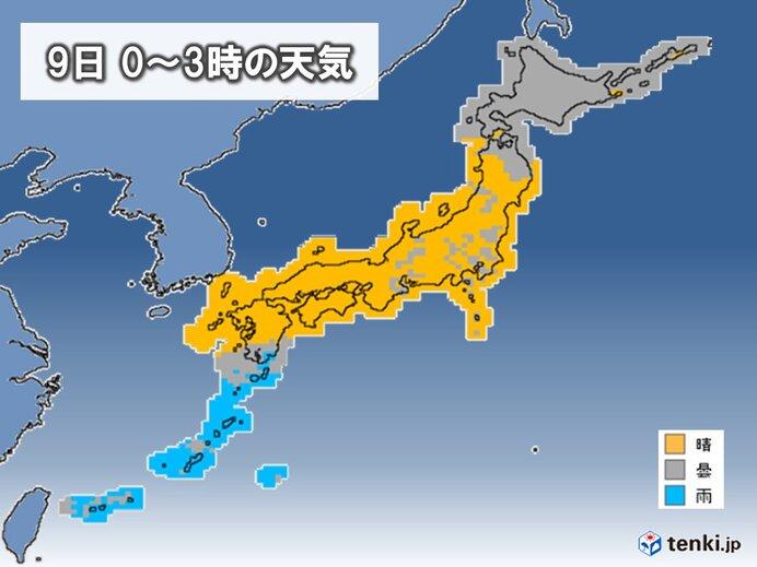 近畿~九州北部は天体観測日和 東北・関東・東海などは雲が出やすい所も