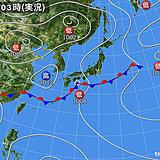 6日 東・西は広く雨で本降りも 北は晴れ