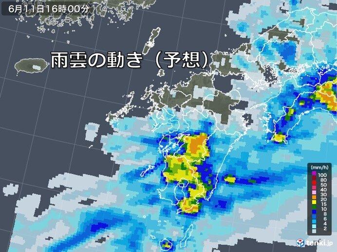 活発な雨雲はゆっくりと南下
