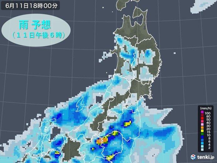 東北南部 梅雨前線に伴う活発な雨雲