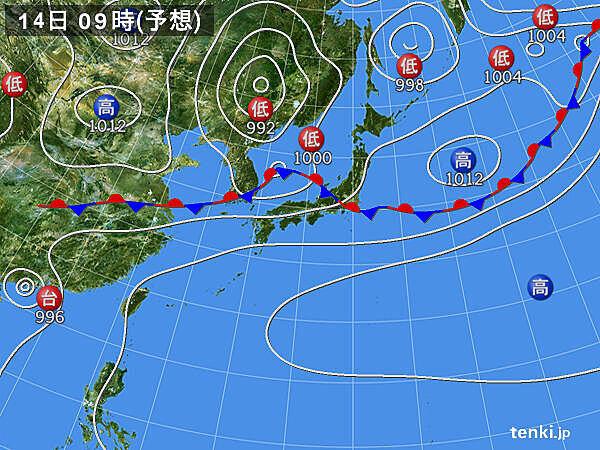 14日(日) 九州北部~関東で大雨の恐れ 北陸で非常に激しい雨