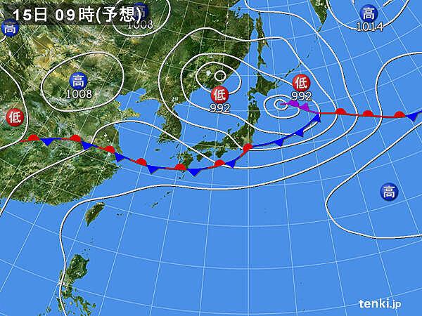 15日(月) 九州北部~東北は強い日差し 関東では午前中に30度以上