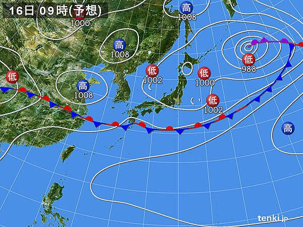 16日(火)~17日(水) 東北や北海道は雨や雷雨 関東も天気急変に注意