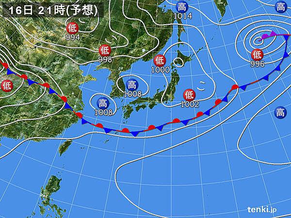 16日(火) 北海道から関東 所々でカミナリ雲が発生