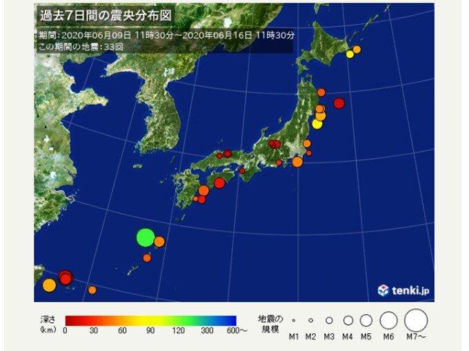 ここ1週間の地震回数 きょうは朝までに震度3が2回発生