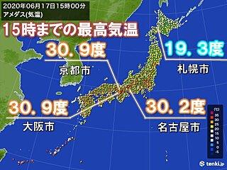 大阪で4日連続の真夏日 札幌は9日ぶりに20度に届かず