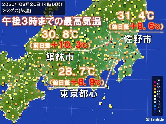 関東 梅雨寒から真夏日に あすは暑さ収まる