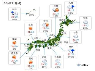 22日 九州から東北で30℃ 南西諸島、伊豆諸島で大雨