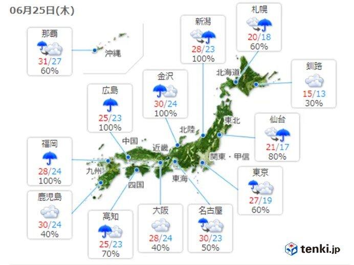 西日本や東日本ではムシムシ 北日本は肌寒い