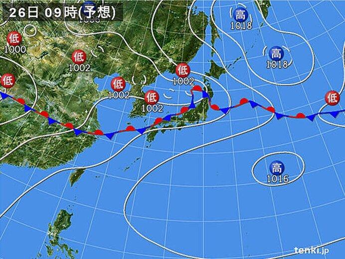 あす26日(金)は激しい雨も