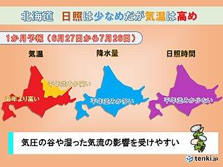北海道の1か月 日差しは少ないものの気温は高めに