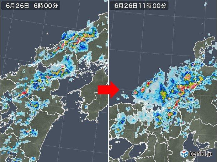 今朝は西日本中心に激しい雨 すでに北陸でも