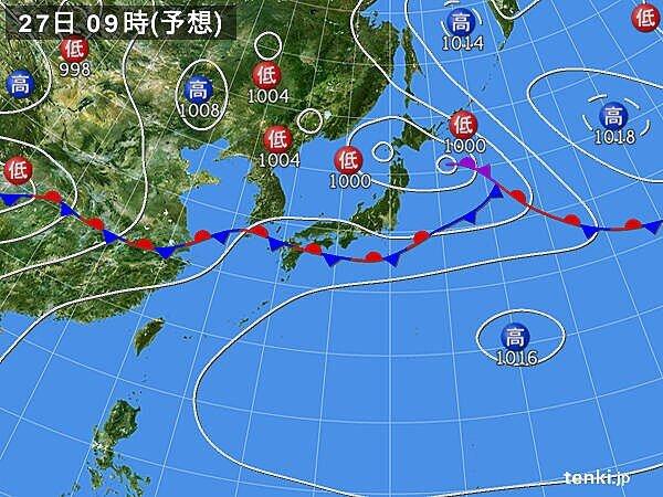 あす27日(土)日本海側は傘が手放せない一日