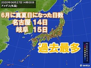 名古屋や岐阜 30℃以上の真夏日の日数 6月として過去最多