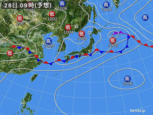 九州~近畿・関東甲信 28日(日)にかけて大雨の恐れ