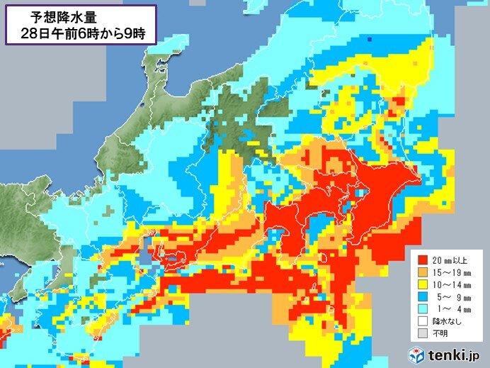 東日本は未明から雨脚強まる