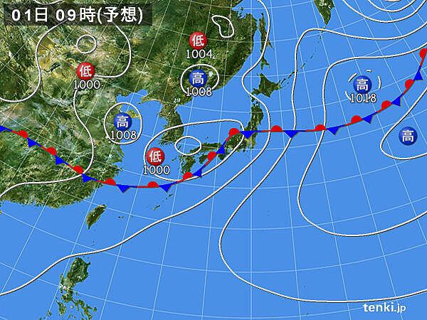 九州~関東 風も強まり、荒れた天気に