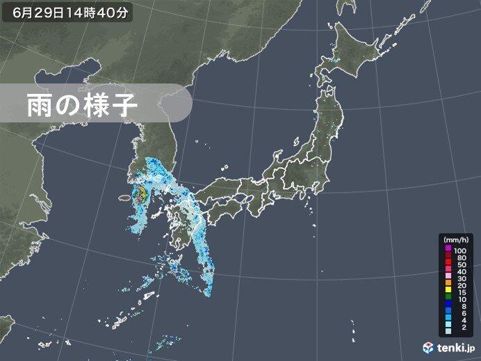 九州でやや強い雨 あすにかけて九州~近畿を中心に大雨の恐れ