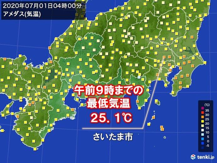 関東で寝苦しい夜 さいたま市などで今朝の最低気温25℃以上も