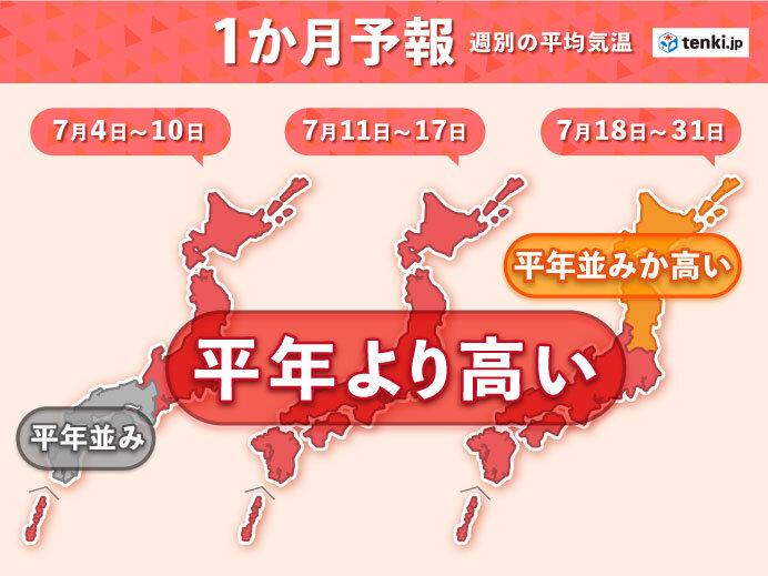 真夏の前から 厳しい暑さ 「梅雨明け」が早まる所も 1か月予報