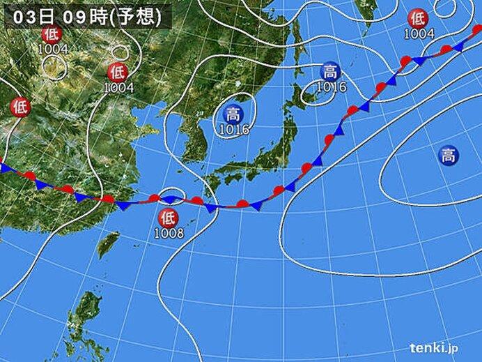 あすは梅雨前線、再び九州へ北上