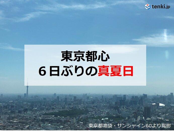 東京は6日ぶりの「真夏日」 3日ぶりに真夏日100地点以上か