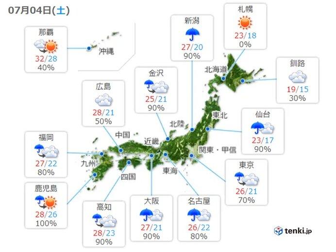 きょうの天気 北海道も次第に雲が多く