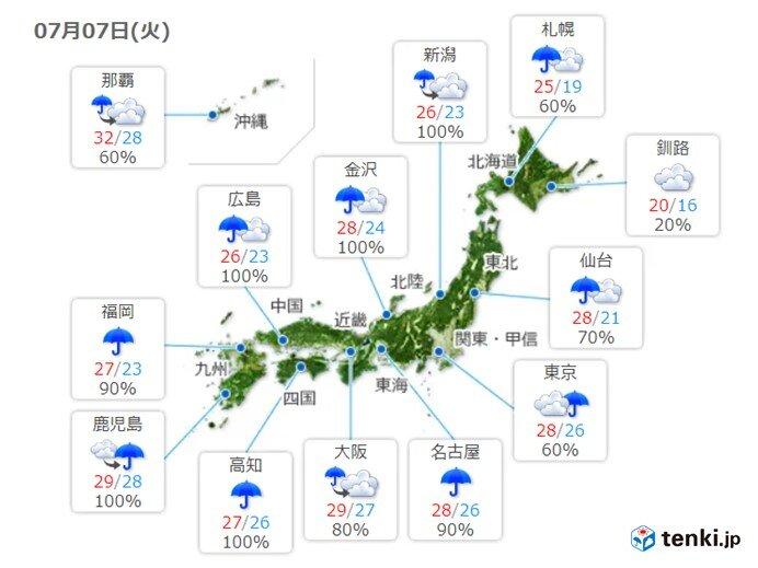 その他の地域でも今日は広い範囲で雨 風も強め