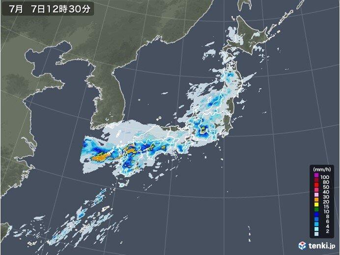 7日 九州から東北の広範囲で大雨 九州・東海は猛烈な雨に厳重警戒
