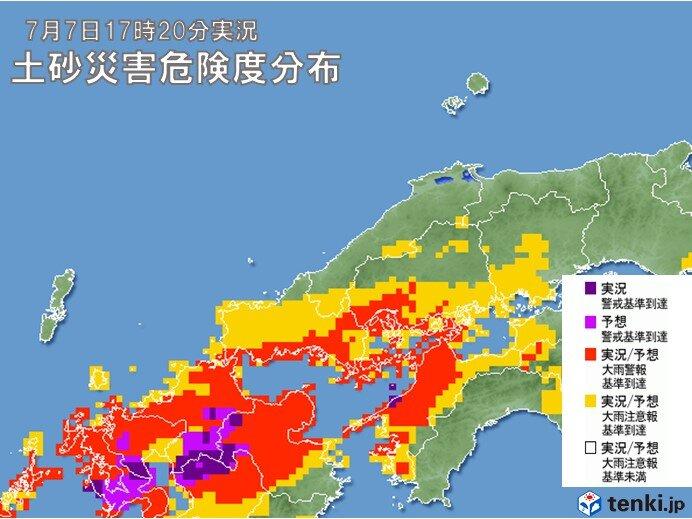 広島県と山口県では再び土砂災害の危険度が高まる
