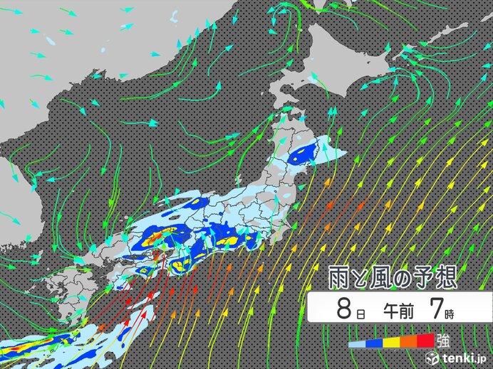 8日は梅雨前線が西日本に停滞