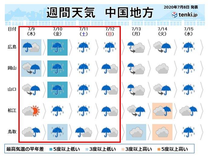 中国地方 週末にかけて再び大雨のおそれ
