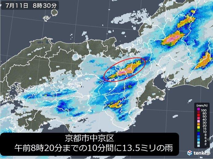 11日朝 京阪神でも雨脚強まる