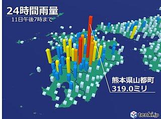 熊本県で激しい雨降り続く 今夜も土砂災害などに警戒