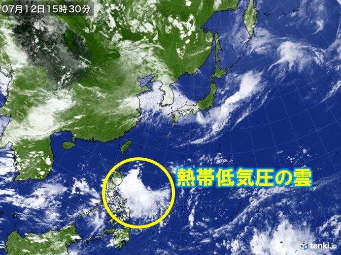 フィリピンの東の熱帯低気圧 影響は?