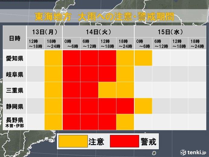 東海 14日は広い範囲で非常に激しい雨 土砂災害警戒