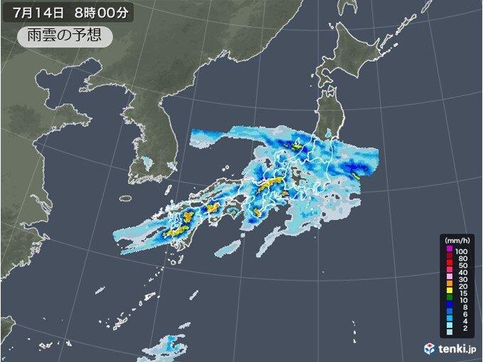 13日夜から14日 非常に激しい雨の恐れ