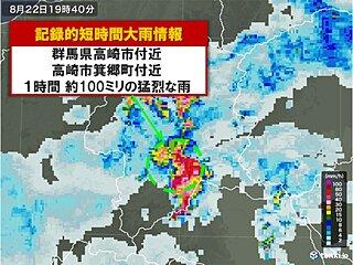 群馬県で約100ミリ 記録的短時間大雨情報 低い土地の浸水に警戒
