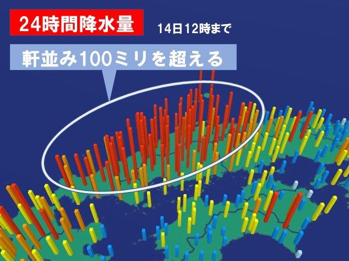 一日分の雨量が軒並み100ミリ超え 200ミリ近いところも