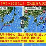 木曜~土曜 荒天 非常に激しい雨警戒