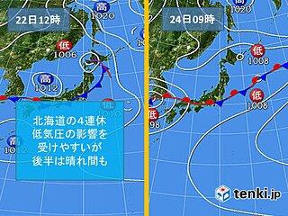 北海道 4連休、すっきりしない天気が続く