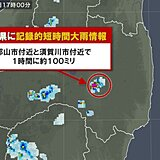 福島県で100ミリ 記録的短時間大雨情報