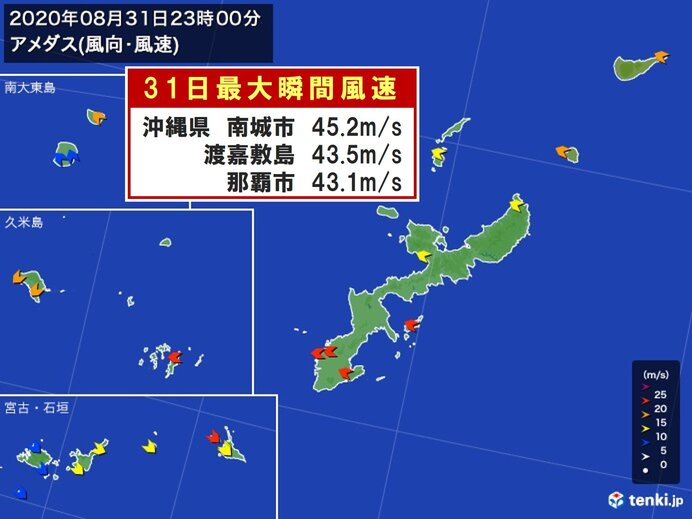 台風9号 沖縄県那覇市 瞬間風速40メートル超