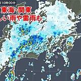 東海や関東に発達した雨雲や雷雲 激しい雨を観測