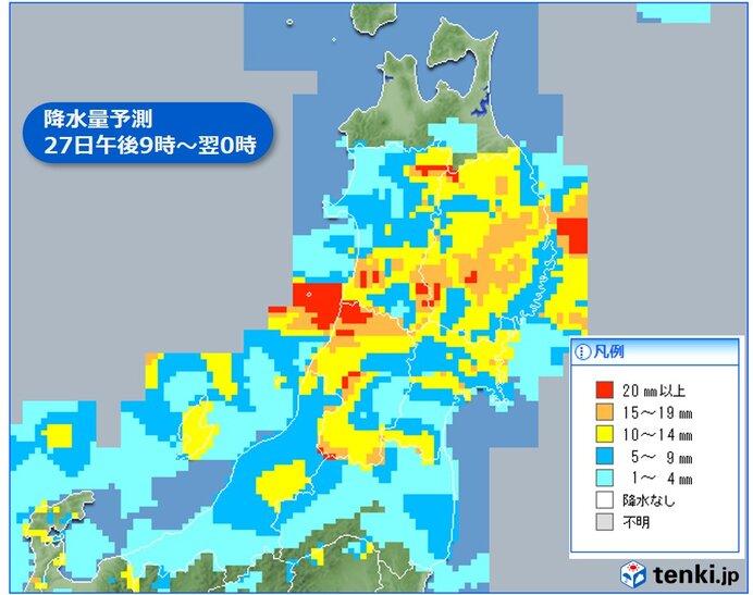 今夜は秋田県~岩手県を中心に激しい雨
