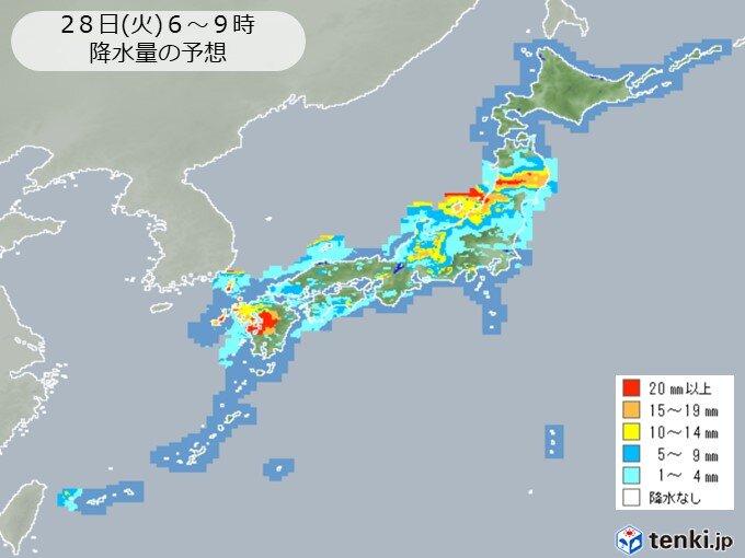 広く梅雨空続く 非常に激しい雨も