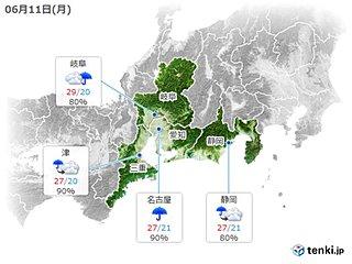 東海 11日夜は再び雨の降る所も