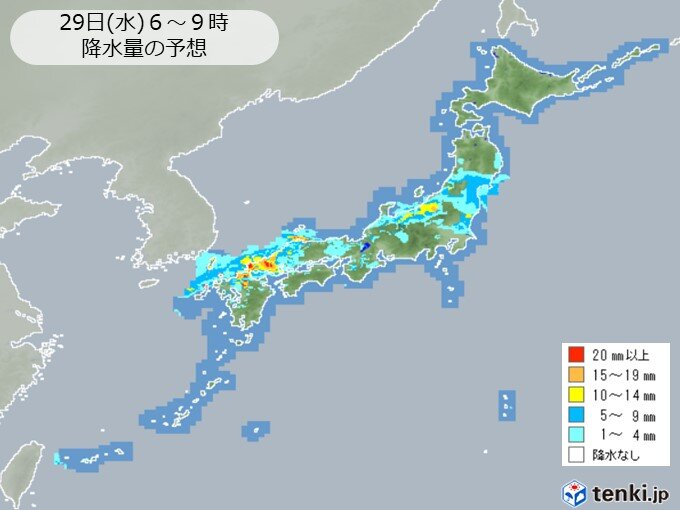 水曜 日本海側は朝 太平洋側は午後 急な強い雨や雷雨に注意